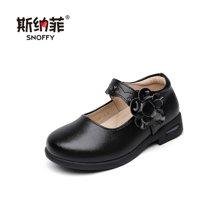 斯纳菲童鞋女童皮鞋牛皮气垫可跑跳公主鞋 宝宝儿童皮鞋演出鞋17868
