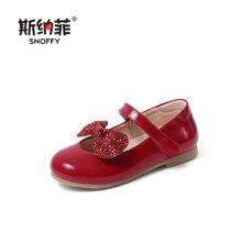 斯纳菲童鞋蝴蝶结女童皮鞋牛皮公主单鞋宝宝儿童皮鞋18615