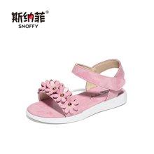 斯纳菲儿童鞋新款韩版女童凉鞋夏季牛皮学生休闲中大童公主鞋英伦18739