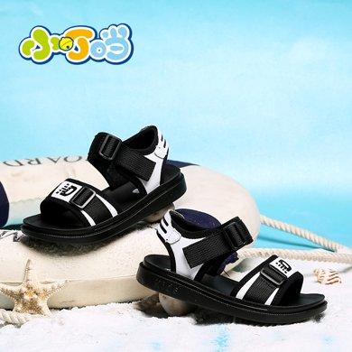 小叮当男童凉鞋2018韩版夏季新款透气软底防滑儿童沙滩鞋学生鞋子DB80909