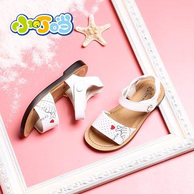 小叮当女童凉鞋夏季新款防滑软底韩版公主鞋平底透气儿童鞋子DB80902