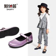 斯纳菲女童单鞋 轻便小公主黑色皮鞋百搭韩版儿童鞋18822