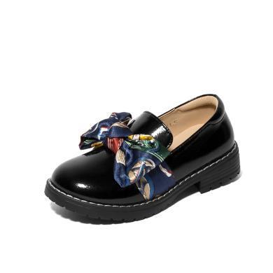 【滿99減20 199減50】斯納菲女童皮鞋 英倫風公主鞋套腳時尚綢布兒童單鞋18832