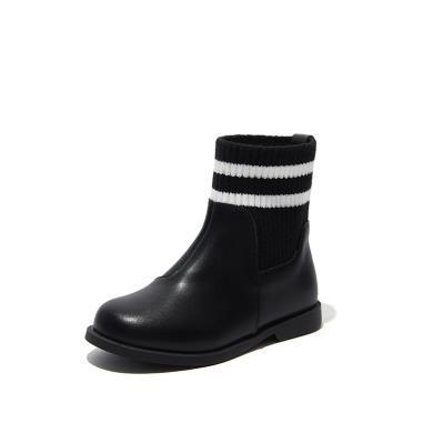 斯納菲女童馬丁靴兒童靴子女秋冬新款單靴女寶寶牛皮時尚公主短靴19937