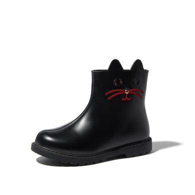 斯納菲女童靴子加絨2019秋冬新款卡通刺繡公主棉靴洋氣兒童小短靴19902