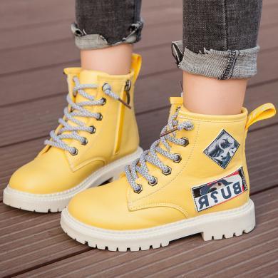 女童马丁靴2019年新款儿童短靴英伦风时尚洋气英伦风男童靴子单靴 TT1572