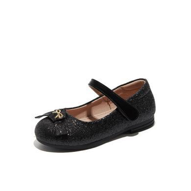 斯納菲女童鞋2019春季新款魔術貼寶寶小皮鞋兒童公主鞋單鞋19615