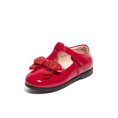 斯納菲童鞋2019春季魔術貼女童皮鞋蝴蝶結亮片休閑鞋兒童單鞋19601