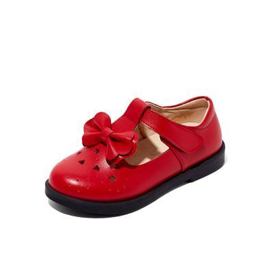 斯纳菲童鞋2019春新款爱心镂空纯色休闲皮鞋中大童公主学生皮鞋女19621