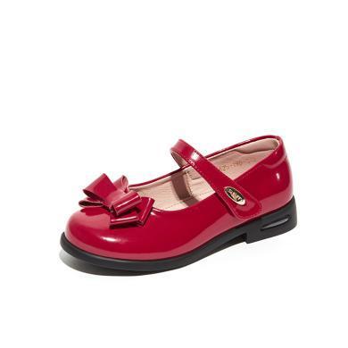 【滿99減20 199減50】斯納菲童鞋女童皮鞋2019春秋新牛皮小孩子公主鞋黑色兒童寶寶單鞋19625
