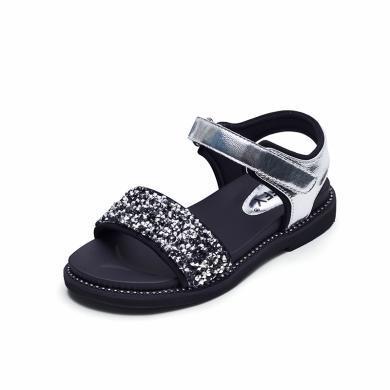 斯納菲 女童涼鞋2019夏季新款時尚小公主鞋 水鉆韓版寶寶兒童涼鞋19750