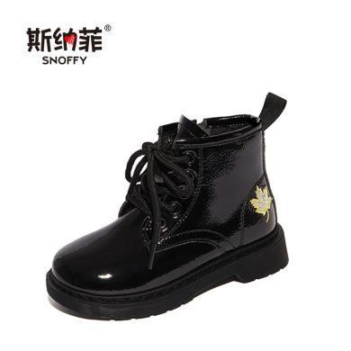 女童马丁靴2019秋季新款短靴子儿童鞋中大童英伦风单皮靴女孩靴子19867
