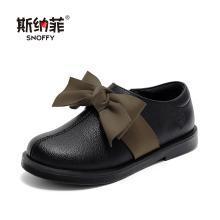 斯纳菲女童鞋子公主鞋2019新款洋气女童皮鞋黑儿童软底中大童单鞋19815