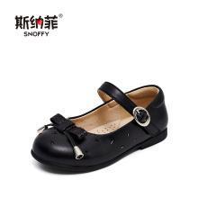 斯纳菲女童公主鞋 2019秋季新款爱心黑色小单鞋 韩版时尚儿童皮鞋19804