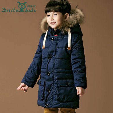 迪斯兔/disitu童裝男童棉衣外套加厚中長款兒童棉襖韓版中大童毛領棉服大衣A1208