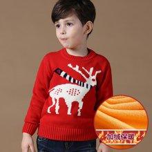 迪斯兔/disitu童装男童加绒毛衣加厚套头圆领中大童保暖打底衫儿童针织衫潮M1537