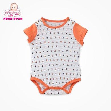 丑丑婴幼 夏季新生儿三角包?#21890;?#34915;男宝宝纯棉短袖哈衣、爬服、连体衣