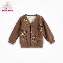 丑丑婴幼1-5岁男宝宝秋冬新款针织加绒男童前开卫衣外套