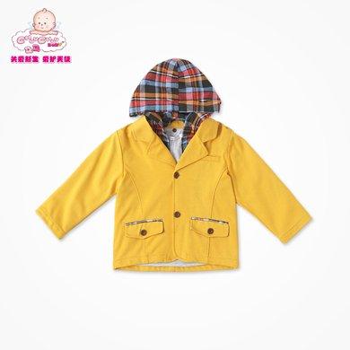 丑丑嬰幼 男童可脫帽外套秋季男寶寶小西服針織外套 CGE616X