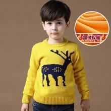 迪斯兔/disitu男童加绒毛衣加厚套头圆领中大童冬装保暖打底线衫童装儿童针织衫M1028