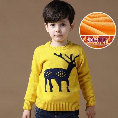 迪斯兔/disitu男童加絨毛衣加厚套頭圓領中大童冬裝保暖打底線衫童裝兒童針織衫M1028