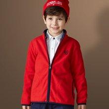 迪斯兔/disitu男童摇粒绒卫衣外套开衫中大童纯色拉链衫童装儿童上衣夹克潮W1140