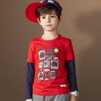 迪斯兔/disitu 春季新款男童长袖T恤中大童假两件T恤韩版男儿童T恤打底衫潮 T2016