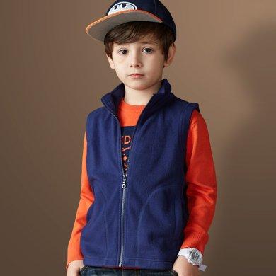 迪斯兔/disitu男童马甲开衫中大童摇粒绒背心儿童无袖外套坎肩马夹B2021