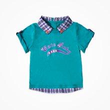 丑丑婴幼 夏季新款男童时尚短袖T恤衣服男宝宝翻领上衣CJE229X
