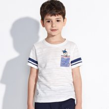 【活动价39元】迪斯兔/disitu男童竹节棉短袖T恤薄款中大童半袖上衣童装儿童T恤潮F1304