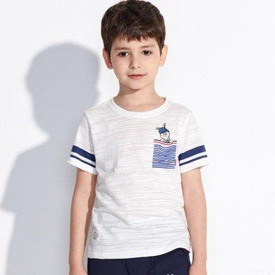 【活動價39元】迪斯兔/disitu男童竹節棉短袖T恤薄款中大童半袖上衣童裝兒童T恤潮F1304