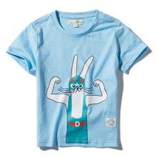 迪斯兔/disitu男童纯棉T恤短袖夏装上衣中大童卡通印花体恤儿童休闲T恤F1420