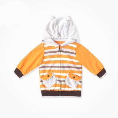 丑丑婴幼 男宝宝针织连帽外套春秋季男童时尚长袖条纹外套 CGE615X