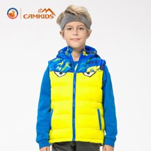 camkids垦牧男小童双面马甲秋季新款一衣两穿儿童带帽保暖