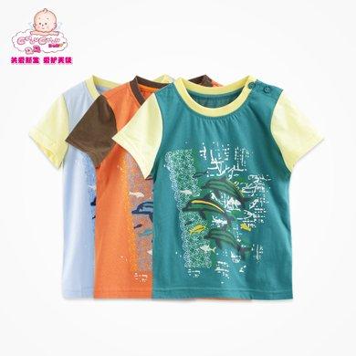 丑丑嬰幼 男寶寶卡通可愛圓領T恤 夏季男童純棉短袖上衣1-4歲