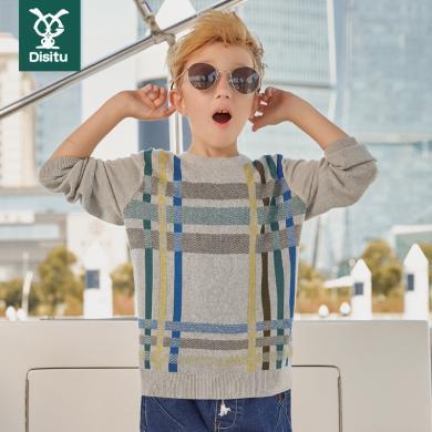 迪斯兔/disitu男童毛衣新款春秋裝中大童兒童針織衫套頭純棉線衣韓版潮流薄M2046