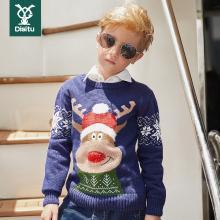 迪斯兔/disitu男童毛衣新款秋冬季中大童儿童装圣诞针织线衫套头上衣韩版潮M2052