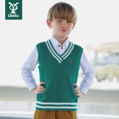 迪斯兔/disitu男童毛衣背心新款針織衫兒童春秋馬甲中大童純棉線衣韓版潮流M2047