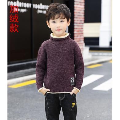 ocsco 男童針織衫冬季新款童裝假兩件毛衣中大童加絨線衣時尚穿搭打底衫