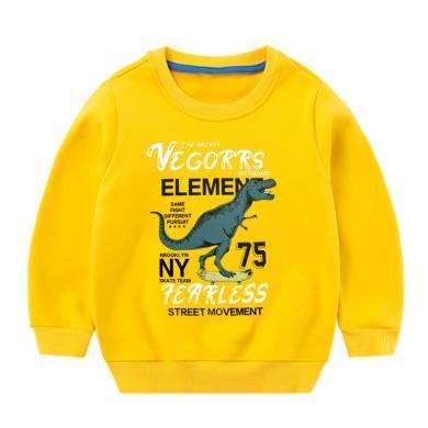 ocsco 童裝衛衣冬季新款男童加絨復合絨上衣卡通恐龍打底衫中小童套頭衫