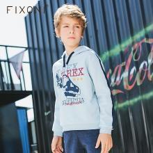 Fixoni童装冬装加绒卫衣连帽加厚保暖2018秋冬男童连帽外套加绒厚BDS001