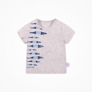 丑丑婴幼 男宝宝圆领短袖T恤夏季新款男童卡通上衣1--5岁 CNE211X