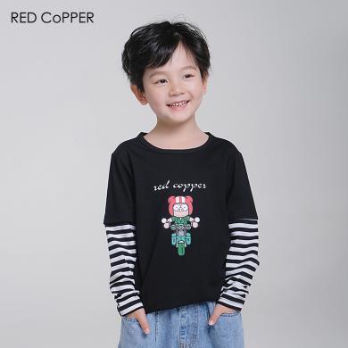 redcopper 瑞德酷普 2019夏裝新款純棉男童長袖印花T恤