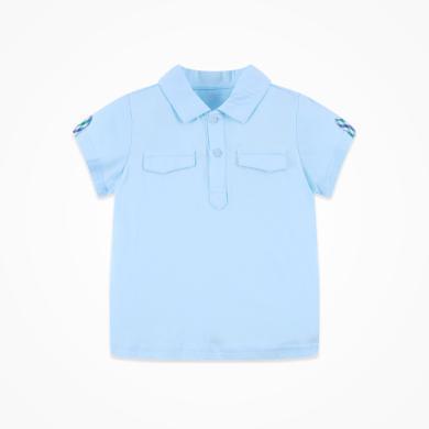 丑丑嬰幼 男童時尚T恤夏季男寶寶前半開純棉翻領短袖上衣  CHE201T