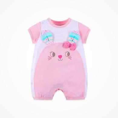 丑丑嬰幼 夏季女寶寶卡通哈衣、爬服、連體衣3個月-1歲半 CFE058X