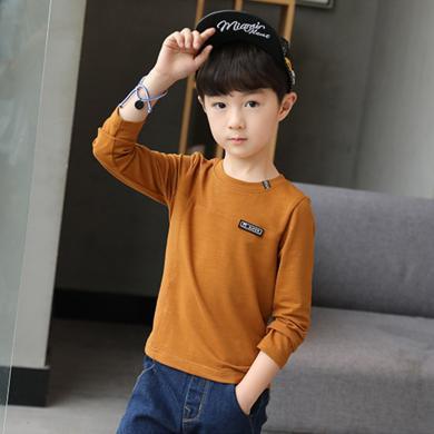 ocsco 春秋季新款男童長袖T恤氣質圓領個性貼標韓版純色百搭兒童上衣