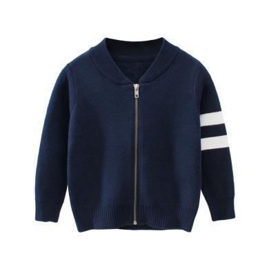ocsco 男童毛衣春秋季新款時尚條紋拼接針織衫寬松顯瘦開衫外套