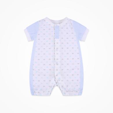 丑丑嬰幼 夏季男女寶寶純棉前開短哈衣新生兒短袖哈衣、爬服、連體衣 CJD009X