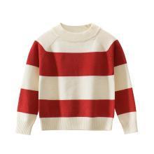 ocsco 春秋季新款气质圆领条纹上衣男女童毛衣儿童套头针织衫