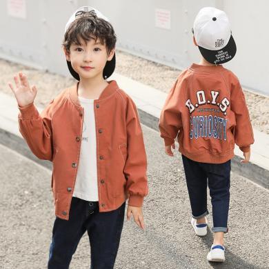 謎子 童裝外套秋季新款男童夾克中大童上衣后背BOYS印花外套潮